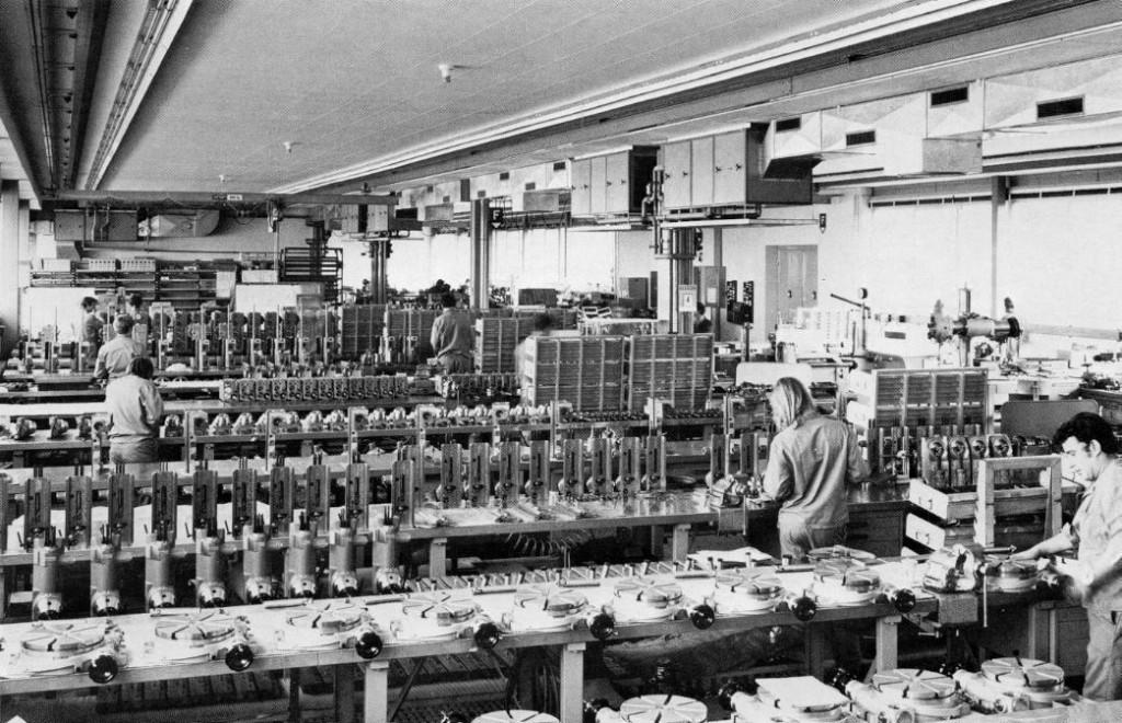Schaublin Bevilard Assembly-shop. Note Oerlikon UB2 drill in background