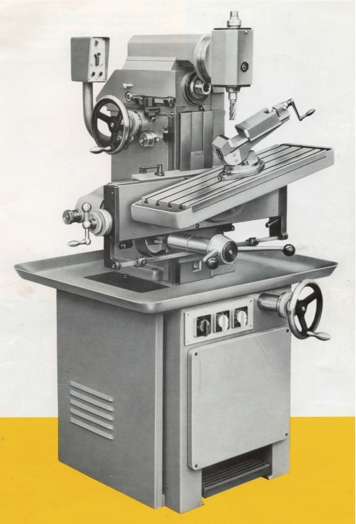 1970s Aciera F3 with vertical head, simple tilting table and tilting vice.