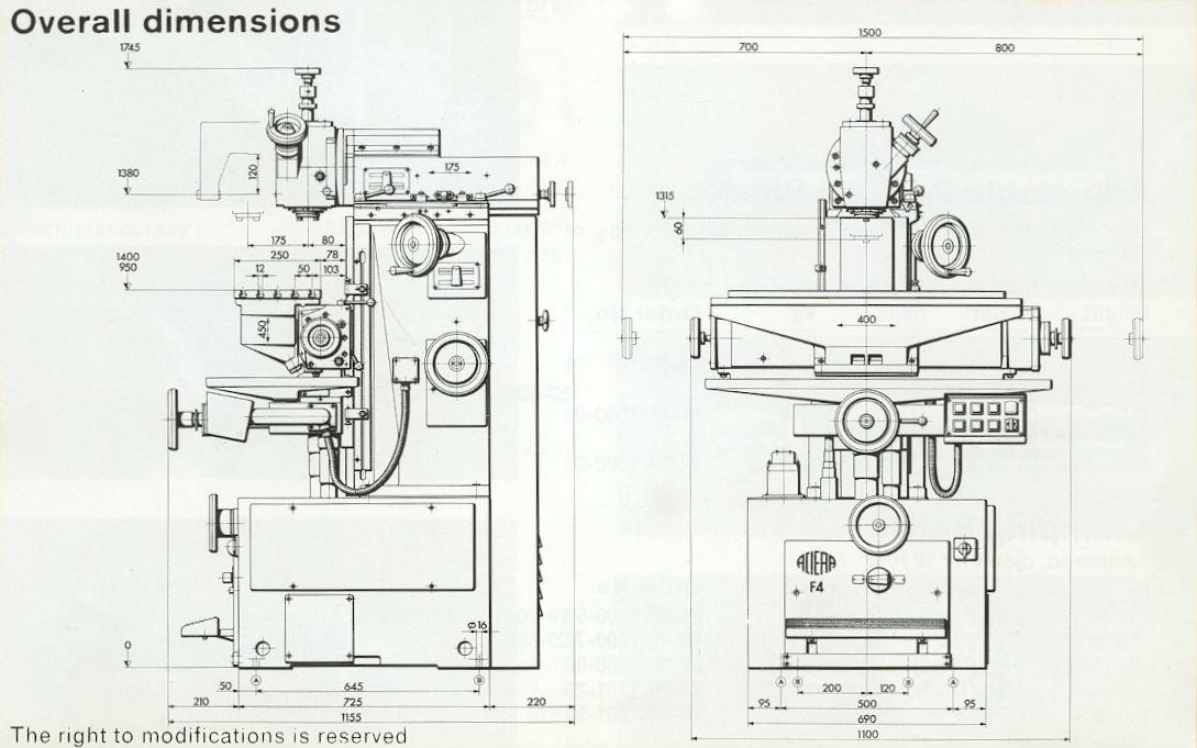 Aciera F4 overall dimensions