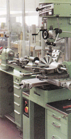 P18 drilling milling machine. Note Schaublin 102 equipped with raising blocks in background