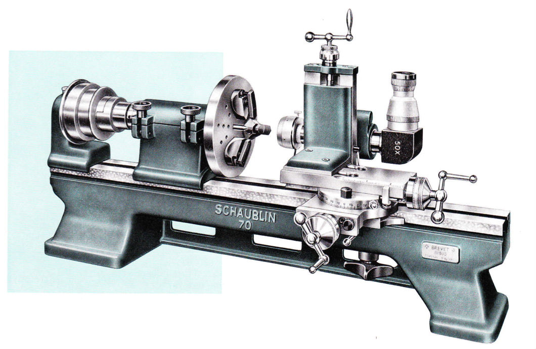 "Early type Schaublin 70 milling attachment with microscope set up for ""watchmaking jig boring"""