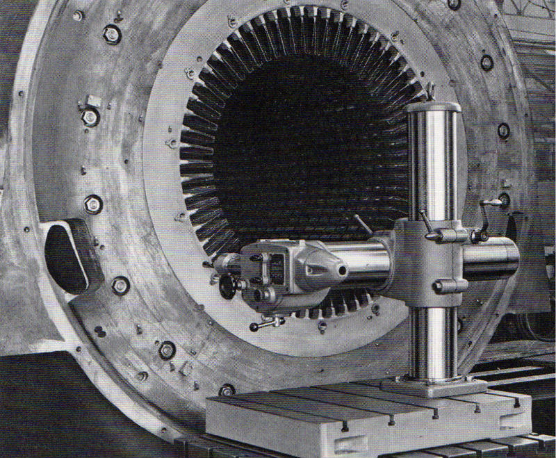 Oerlikon UB2 drilling the stator of one of the companies large electric motors